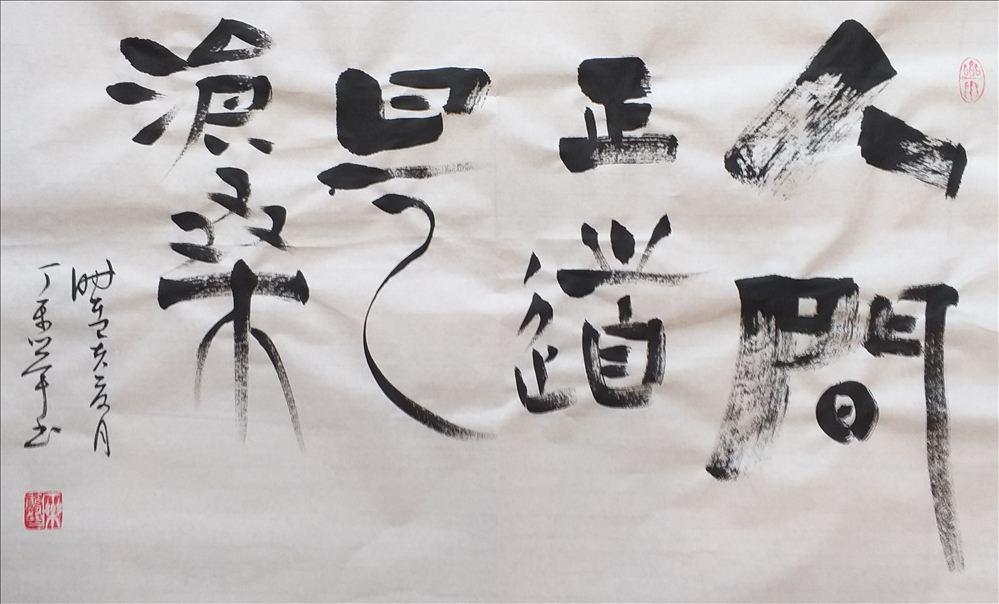 魅力新沂 庆祝建国七十周年 丁乐举创意毛泽东诗句书法展示